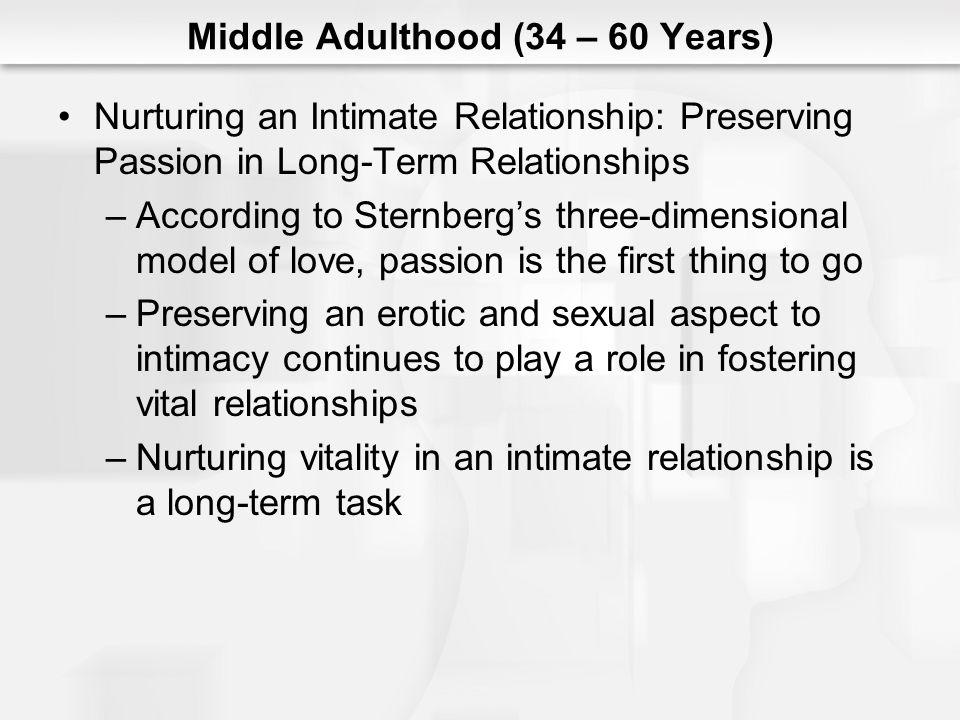 Middle Adulthood (34 – 60 Years) Nurturing an Intimate Relationship: Preserving Passion in Long-Term Relationships –According to Sternbergs three-dime