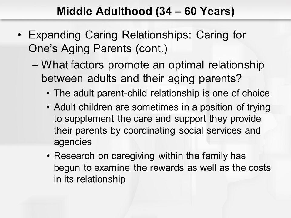Middle Adulthood (34 – 60 Years) Expanding Caring Relationships: Caring for Ones Aging Parents (cont.) –What factors promote an optimal relationship b