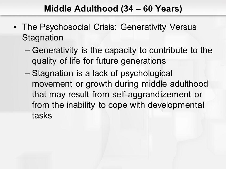 Middle Adulthood (34 – 60 Years) The Psychosocial Crisis: Generativity Versus Stagnation –Generativity is the capacity to contribute to the quality of
