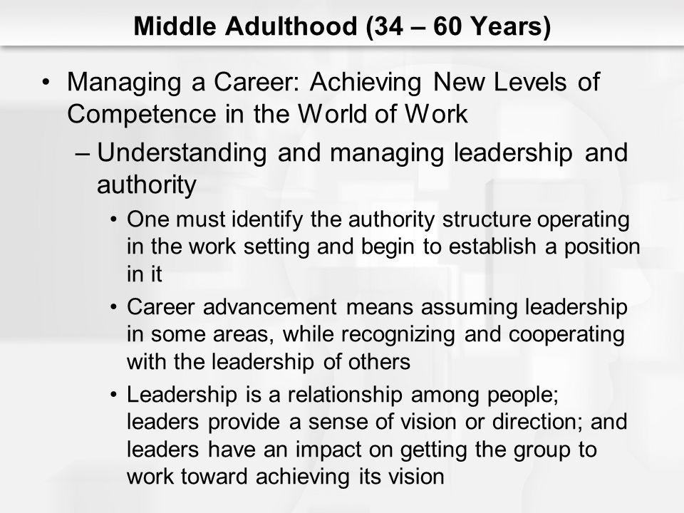 Middle Adulthood (34 – 60 Years) Managing a Career: Achieving New Levels of Competence in the World of Work (cont.) –Expanding interpersonal relationships Most occupations place a great deal of emphasis on the development and use of interpersonal skills, especially the ability to interact well with customers and co-workers, and the ability to communicate effectively as underlying criteria in the selection and promotion process