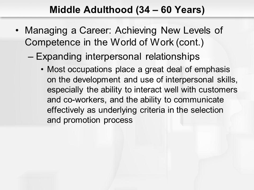 Middle Adulthood (34 – 60 Years) Managing a Career: Achieving New Levels of Competence in the World of Work (cont.) –Expanding interpersonal relations