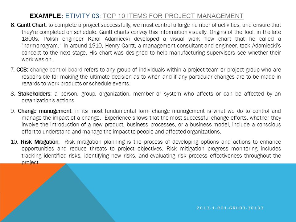 EXAMPLE: ETIVITY 03: TOP 10 ITEMS FOR PROJECT MANAGEMENTTOP 10 ITEMS FOR PROJECT MANAGEMENT 6. Gantt Chart: to complete a project successfully, we mus