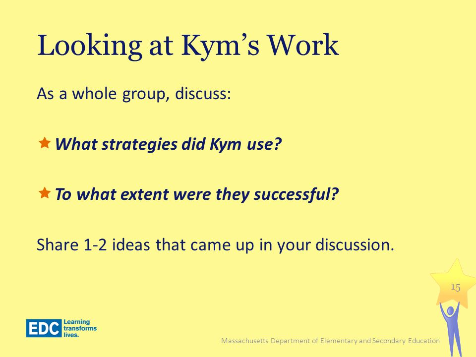 Looking at Kyms Work As a whole group, discuss: What strategies did Kym use? To what extent were they successful? Share 1-2 ideas that came up in your