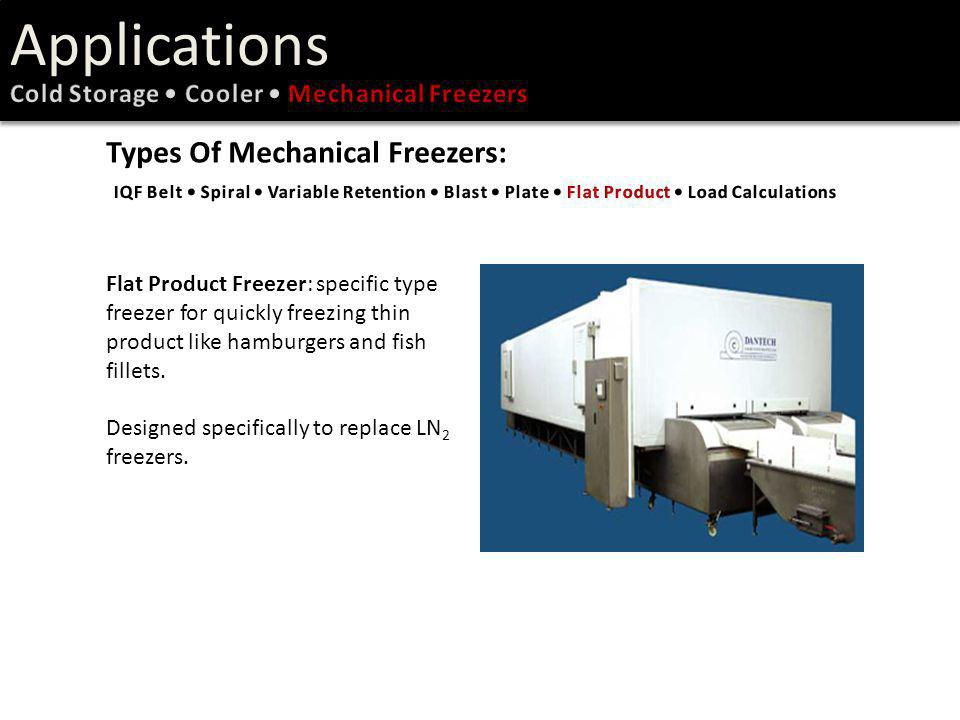 Flat Product Freezer: specific type freezer for quickly freezing thin product like hamburgers and fish fillets. Designed specifically to replace LN 2