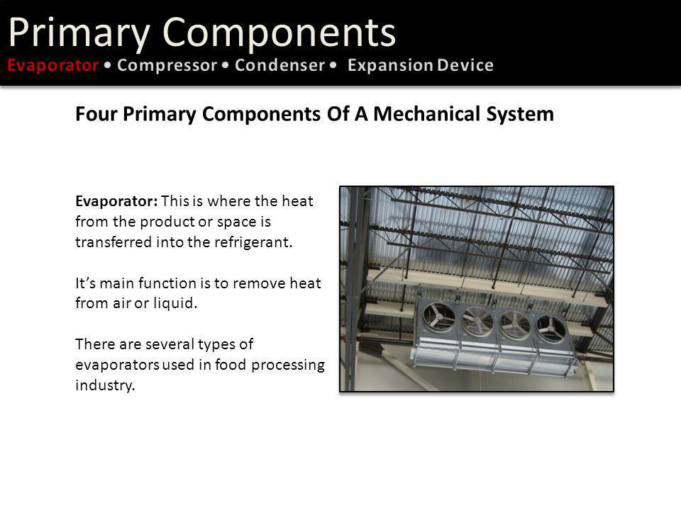 Primary Components Types of Evaporators Air Units: a common type of evaporator found in cold storages, pre-coolers, and mechanical freezers.