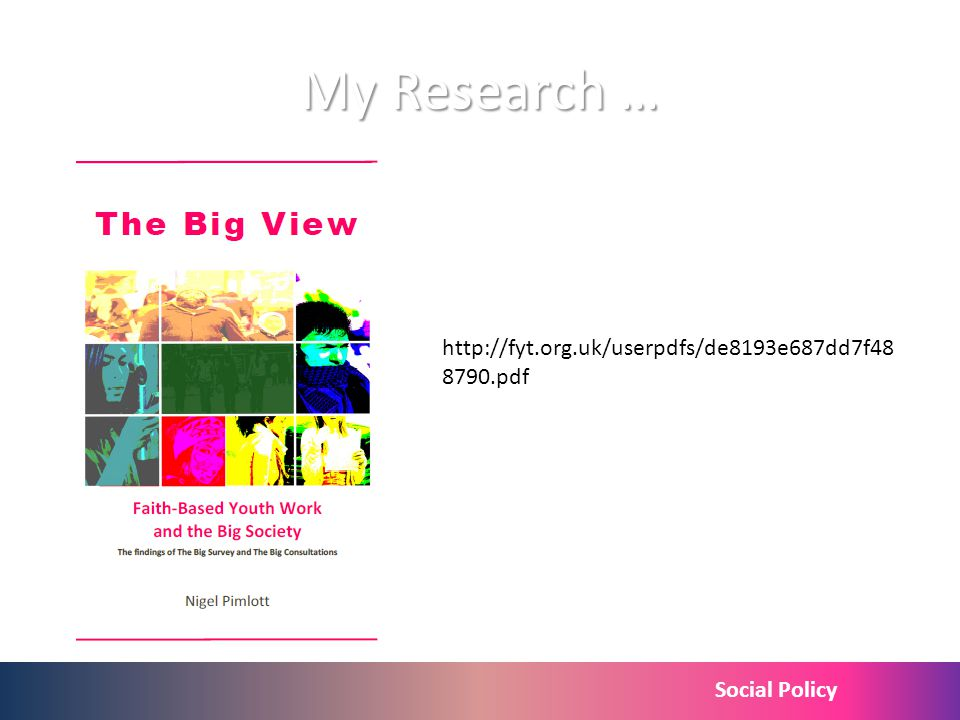 Social Policy My Research … http://fyt.org.uk/userpdfs/de8193e687dd7f48 8790.pdf