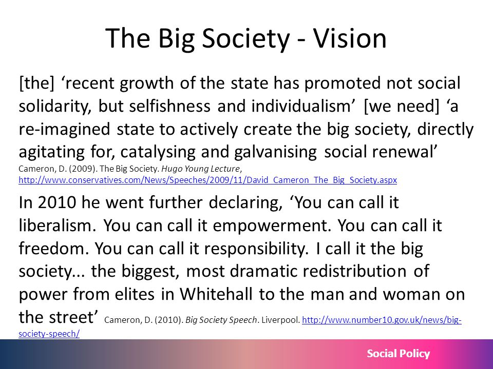 Social Policy The Big Society - Vision [the] recent growth of the state has promoted not social solidarity, but selfishness and individualism [we need
