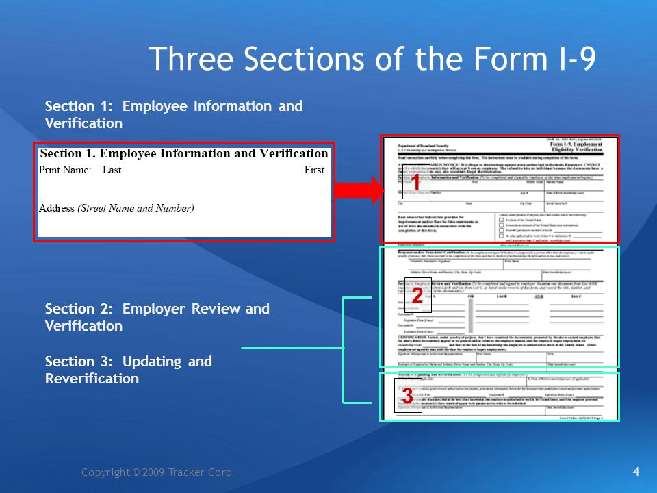 Copyright © 2009 Tracker Corp Three Sections of the Form I-9 Section 1: Employee Information and Verification Section 2: Employer Review and Verificat