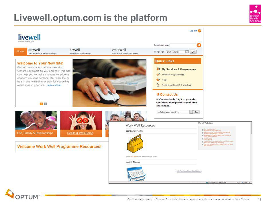Confidential property of Optum. Do not distribute or reproduce without express permission from Optum. Livewell.optum.com is the platform 11