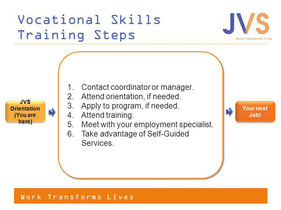 Work Transforms Lives Vocational Skills Training Steps Your next Job.