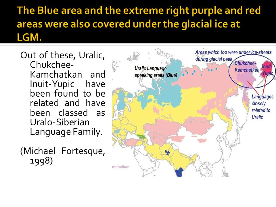 Out of these, Uralic, Chukchee- Kamchatkan and Inuit-Yupic have been found to be related and have been classed as Uralo-Siberian Language Family. (Mic