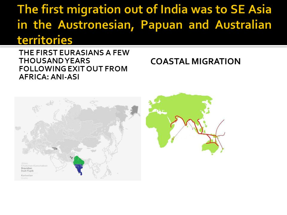 THE FIRST EURASIANS A FEW THOUSAND YEARS FOLLOWING EXIT OUT FROM AFRICA: ANI-ASI COASTAL MIGRATION