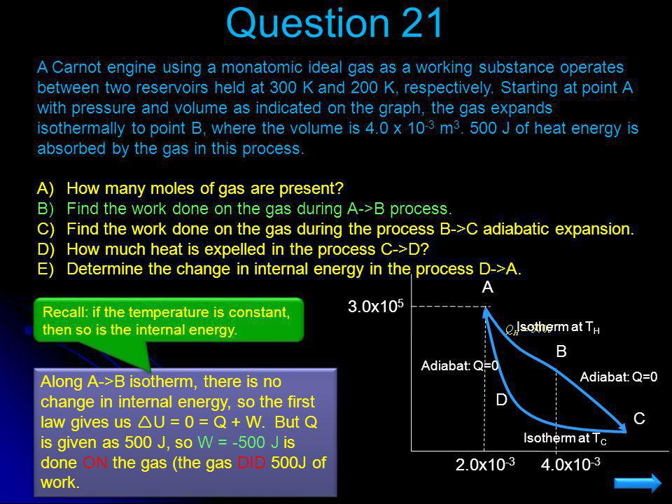 Question 21 A Carnot engine using a monatomic ideal gas as a working substance operates between two reservoirs held at 300 K and 200 K, respectively.