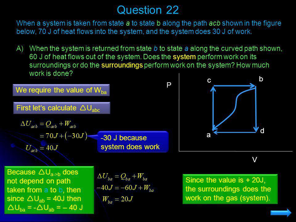 Question 22 When a system is taken from state a to state b along the path acb shown in the figure below, 70 J of heat flows into the system, and the s