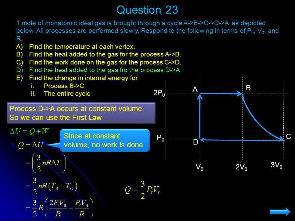 Question 23 1 mole of monatomic ideal gas is brought through a cycle A->B->C->D->A as depicted below. All processes are performed slowly. Respond to t