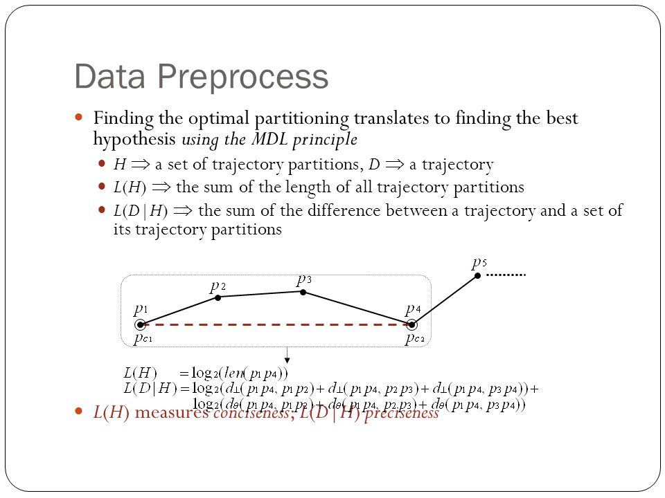 Data Preprocess Finding the optimal partitioning translates to finding the best hypothesis using the MDL principle H a set of trajectory partitions, D