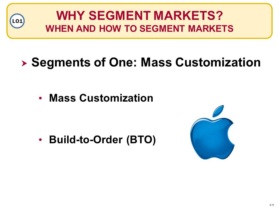 WHY SEGMENT MARKETS? WHEN AND HOW TO SEGMENT MARKETS LO1 Segments of One: Mass Customization Mass Customization Build-to-Order (BTO) 8-10