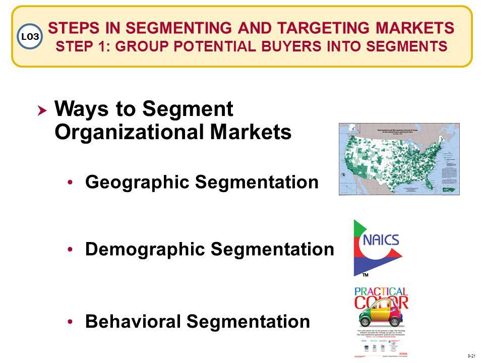 Ways to Segment Organizational Markets Geographic Segmentation Demographic Segmentation Behavioral Segmentation STEPS IN SEGMENTING AND TARGETING MARK