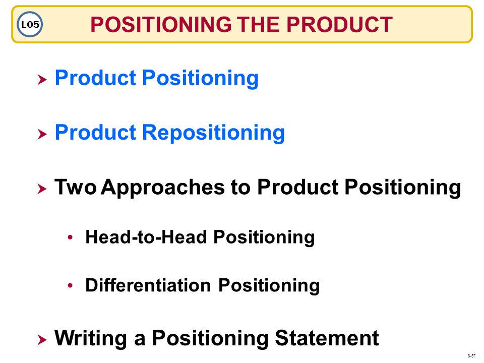 POSITIONING THE PRODUCT LO5 Product Positioning Head-to-Head Positioning Product Repositioning Two Approaches to Product Positioning Differentiation P