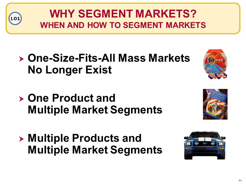 WHY SEGMENT MARKETS? WHEN AND HOW TO SEGMENT MARKETS LO1 One-Size-Fits-All Mass Markets No Longer Exist One Product and Multiple Market Segments Multi