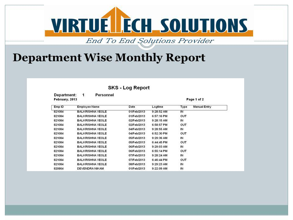 Department Wise Monthly Report