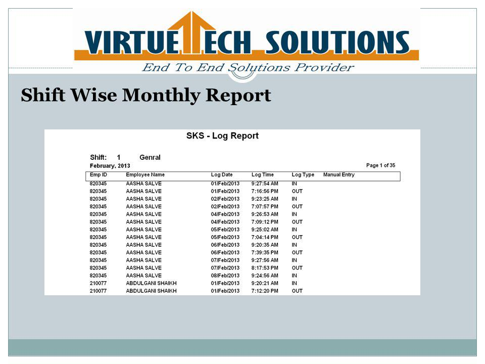 Shift Wise Monthly Report