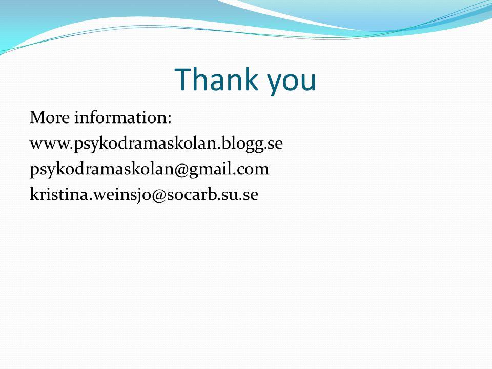 Thank you More information: www.psykodramaskolan.blogg.se psykodramaskolan@gmail.com kristina.weinsjo@socarb.su.se