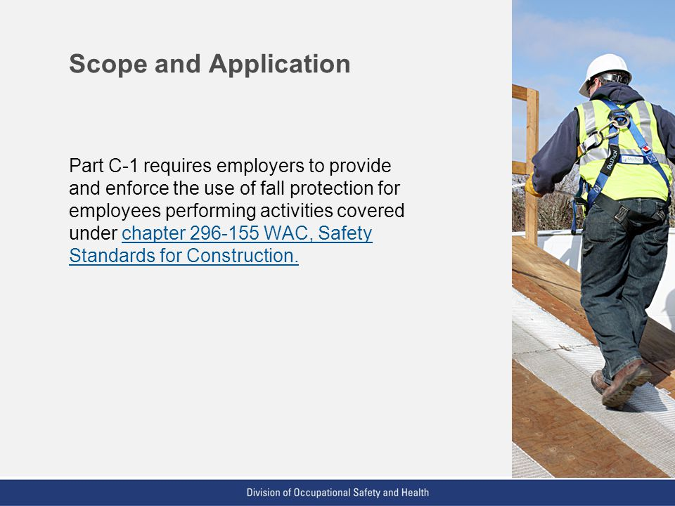 VPP: The Standard of Excellence in Workplace Safety and Health Scope and Application Part C-1 requires employers to provide and enforce the use of fal