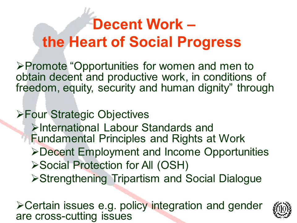 Decent Work – the Heart of Social Progress Promote Opportunities for women and men to obtain decent and productive work, in conditions of freedom, equity, security and human dignity through Four Strategic Objectives International Labour Standards and Fundamental Principles and Rights at Work Decent Employment and Income Opportunities Social Protection for All (OSH) Strengthening Tripartism and Social Dialogue Certain issues e.g.