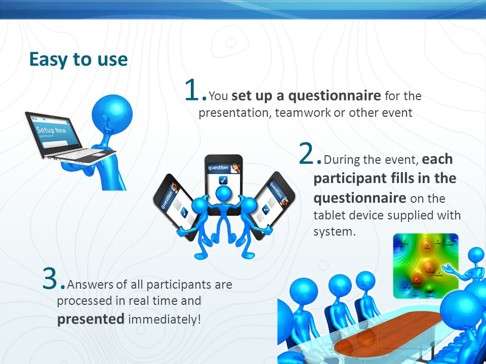 Easy to use 2. During the event, each participant fills in the questionnaire on the tablet device supplied with system. 1. You set up a questionnaire