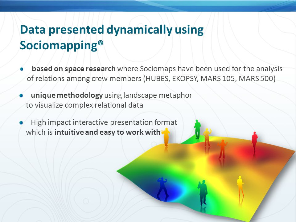 Data presented dynamically using Sociomapping® based on space research where Sociomaps have been used for the analysis of relations among crew members