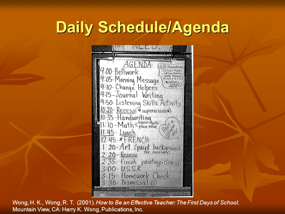 Daily Schedule/Agenda Wong, H. K., Wong, R. T. (2001). How to Be an Effective Teacher: The First Days of School. Mountain View, CA: Harry K. Wong, Pub