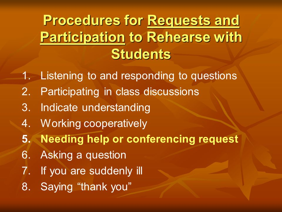 Procedures for Requests and Participation to Rehearse with Students 1. 1.Listening to and responding to questions 2. 2.Participating in class discussi