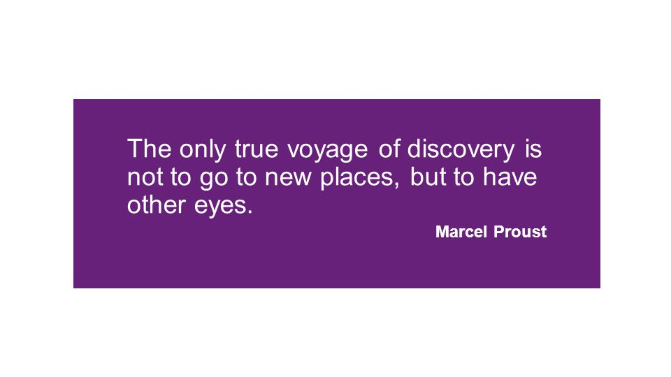 The only true voyage of discovery is not to go to new places, but to have other eyes. Marcel Proust