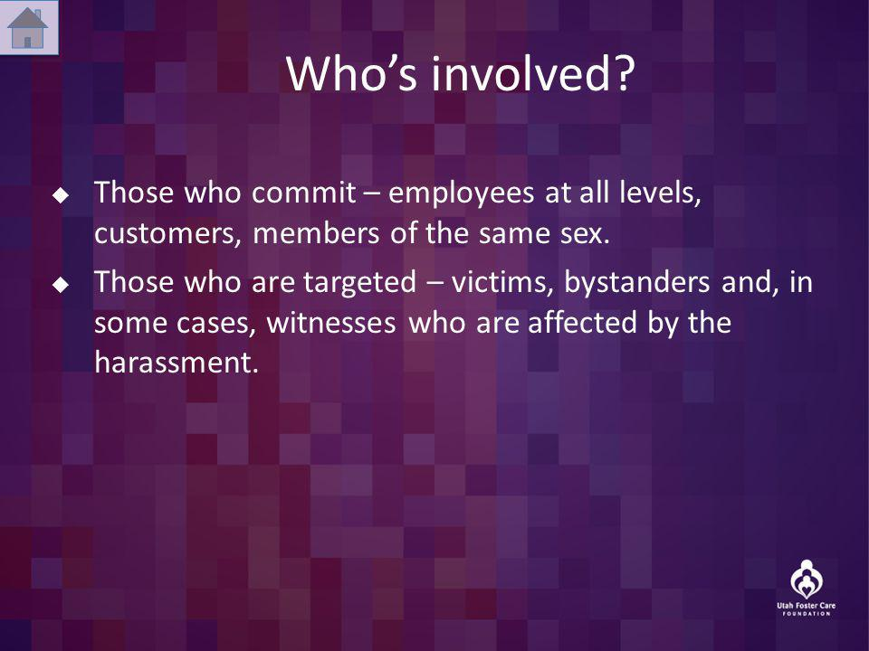 Whos involved? Those who commit – employees at all levels, customers, members of the same sex. Those who are targeted – victims, bystanders and, in so