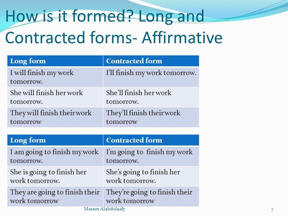 How is it formed? Long and Contracted forms- Affirmative Long formContracted form I will finish my work tomorrow. Ill finish my work tomorrow. She wil