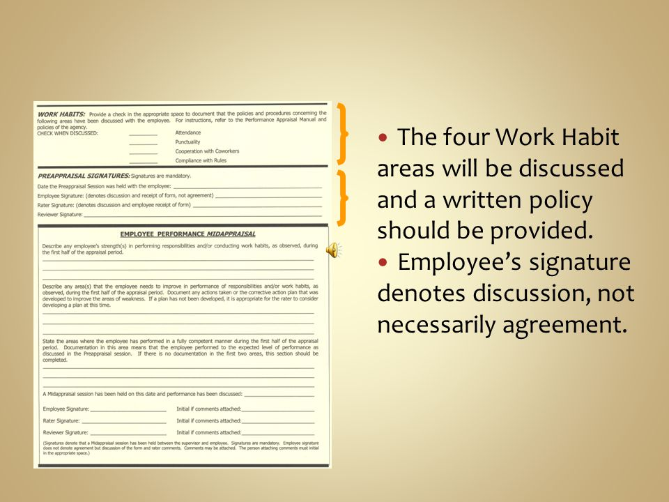 The four Work Habit areas will be discussed and a written policy should be provided.