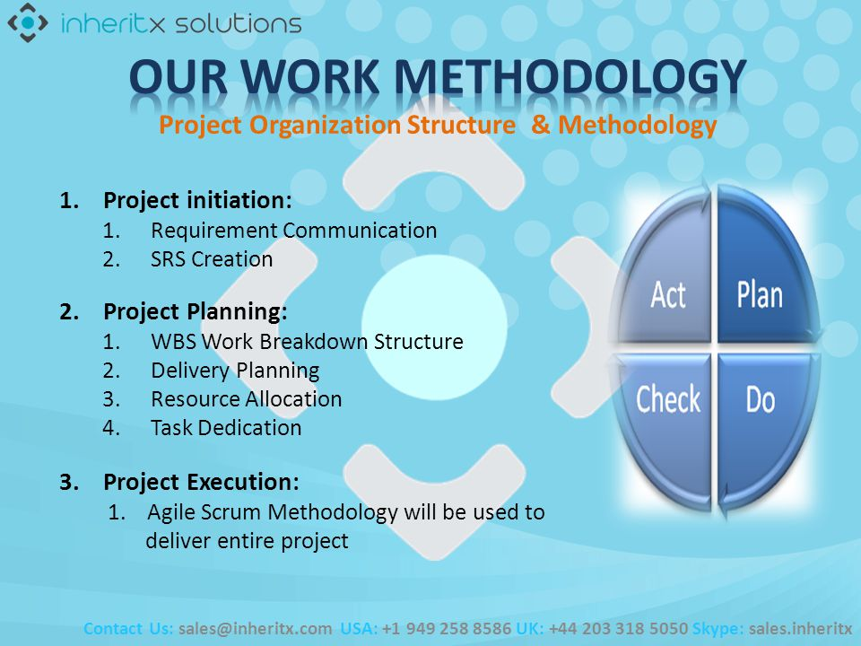 1. Project initiation: 1.Requirement Communication 2.SRS Creation Contact Us: sales@inheritx.com USA: +1 949 258 8586 UK: +44 203 318 5050 Skype: sale