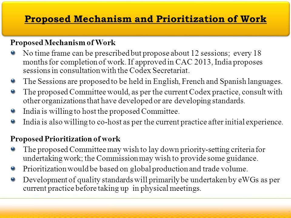 Jodhpur Proposed Mechanism and Prioritization of Work Proposed Mechanism of Work No time frame can be prescribed but propose about 12 sessions; every
