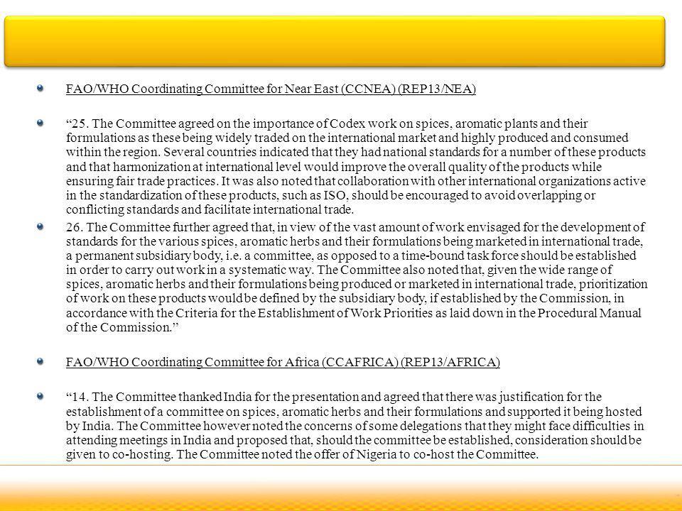 FAO/WHO Coordinating Committee for Near East (CCNEA) (REP13/NEA) 25.