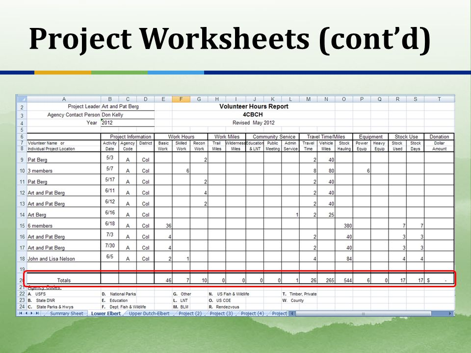 Project Worksheets (contd)