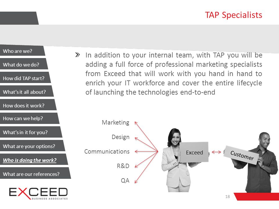 TAP Specialists In addition to your internal team, with TAP you will be adding a full force of professional marketing specialists from Exceed that will work with you hand in hand to enrich your IT workforce and cover the entire lifecycle of launching the technologies end-to-end 18 Marketing Design Communications R&D QA Exceed Customer Who are we.