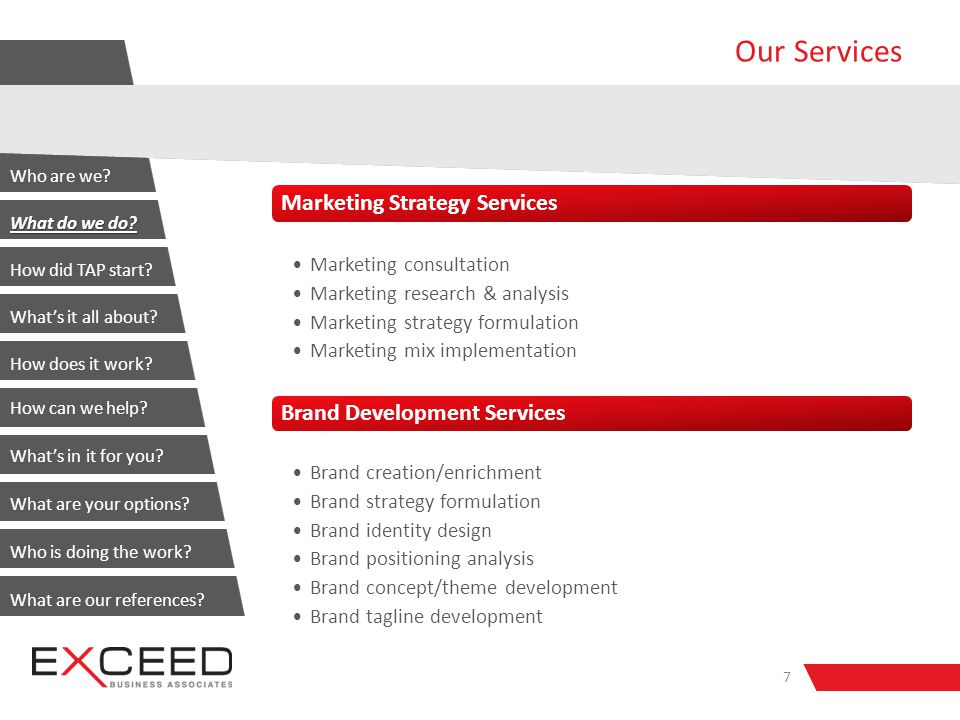 Our Services Marketing Strategy Services Marketing consultation Marketing research & analysis Marketing strategy formulation Marketing mix implementation Brand Development Services Brand creation/enrichment Brand strategy formulation Brand identity design Brand positioning analysis Brand concept/theme development Brand tagline development 7 Who are we.