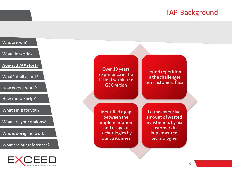 TAP Background Over 10 years experience in the IT field within the GCC region Found repetition in the challenges our customers face Identified a gap between the implementation and usage of technologies by our customers Found extensive amount of wasted investments by our customers in implemented technologies 9 Who are we.