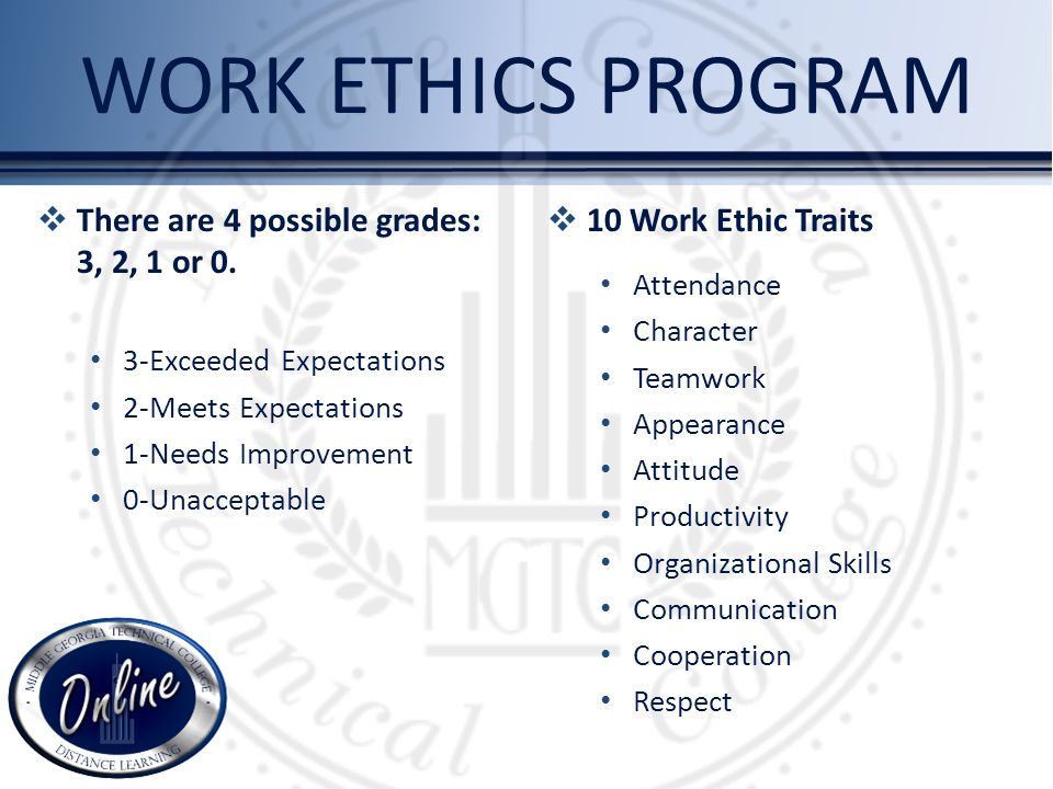 There are 4 possible grades: 3, 2, 1 or 0. 3-Exceeded Expectations 2-Meets Expectations 1-Needs Improvement 0-Unacceptable 10 Work Ethic Traits Attend