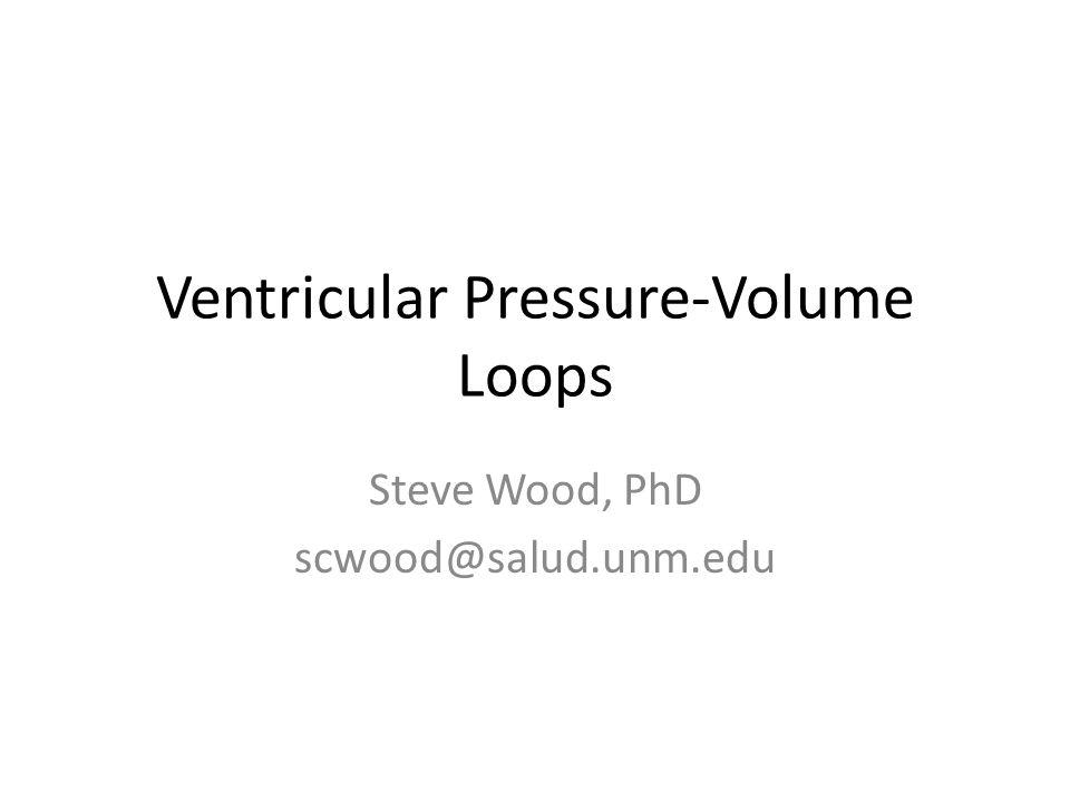 Ventricular Pressure-Volume Loops Steve Wood, PhD scwood@salud.unm.edu