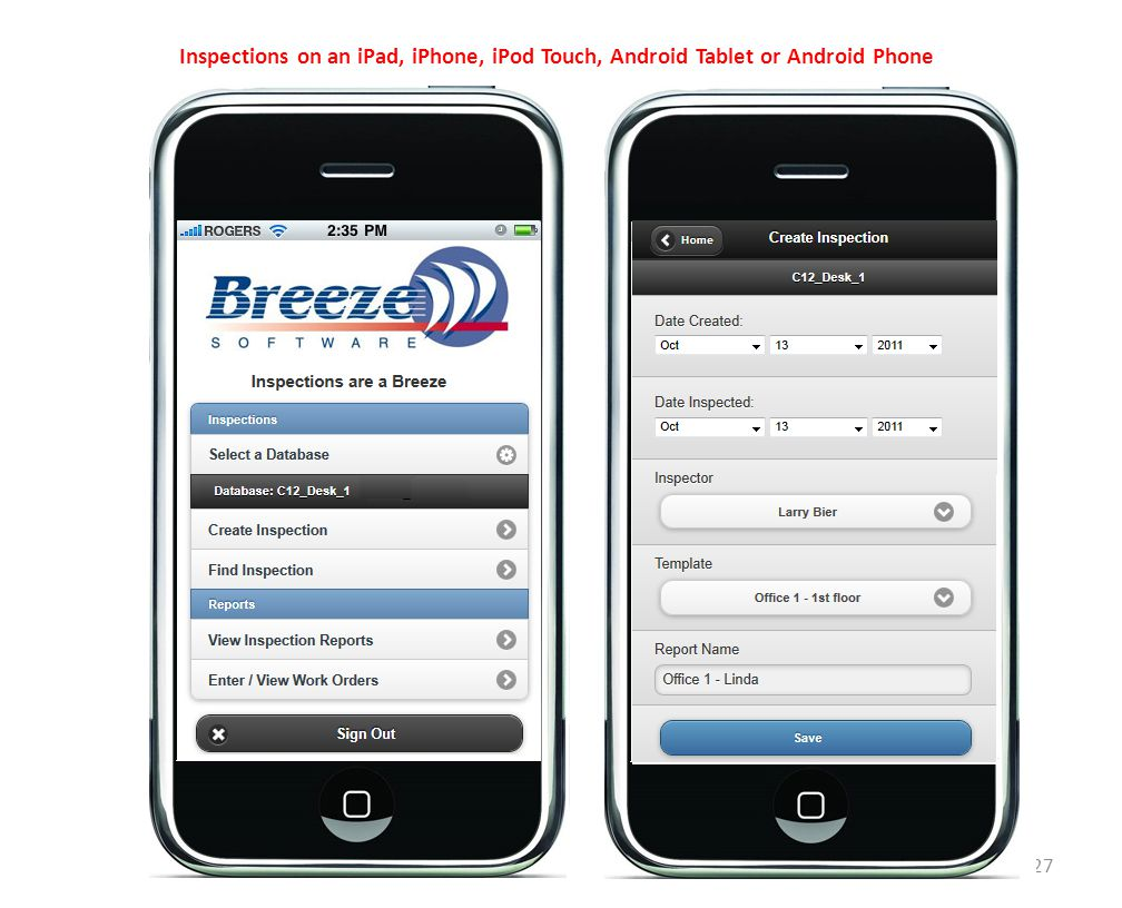 27 Inspections on an iPad, iPhone, iPod Touch, Android Tablet or Android Phone