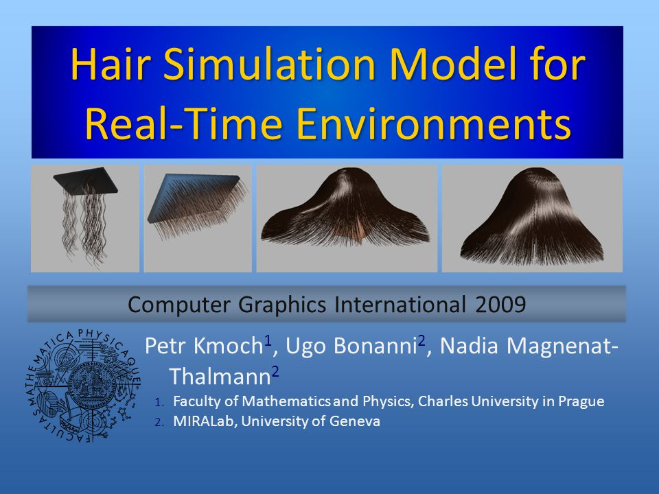 Constraints Post-integration step Removes equation stiffness Constraints Inextensibility, rigid body (head) coupling Projection to nearest constrained state Metric ~ kinetic energy of change Iterative manifold projection Efficient, stable 27.5.2009Hair Simulation Model for Real-Time Environments12 Introduction Related work Physical model Twisting Head collision Results Conclusion