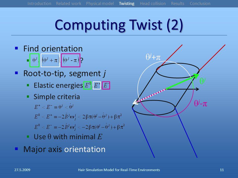 Computing Twist (2) Find orientation .