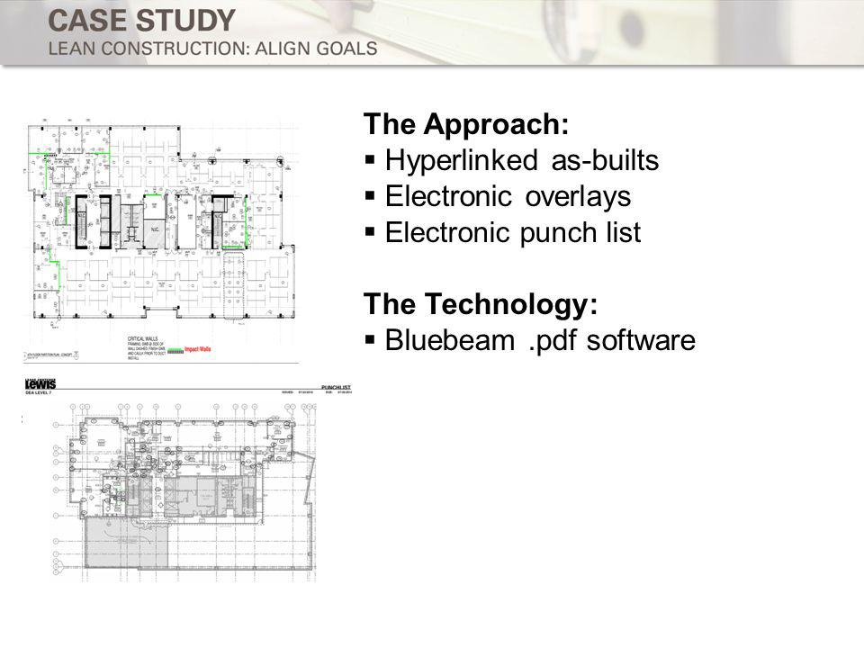 The Approach: Hyperlinked as-builts Electronic overlays Electronic punch list The Technology: Bluebeam.pdf software